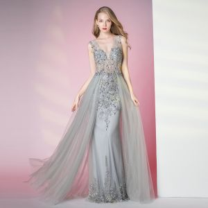 Charming Grey Evening Dresses  2020 Trumpet / Mermaid Deep V-Neck Beading Crystal Rhinestone Sequins Sleeveless Backless Floor-Length / Long Formal Dresses