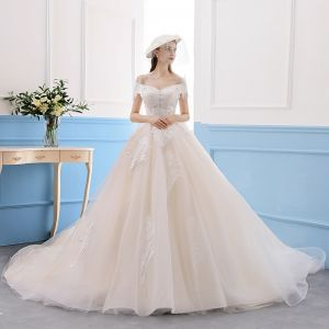 Elegant Champagne Wedding Dresses 2019 A-Line / Princess Lace Off-The-Shoulder Short Sleeve Backless Royal Train