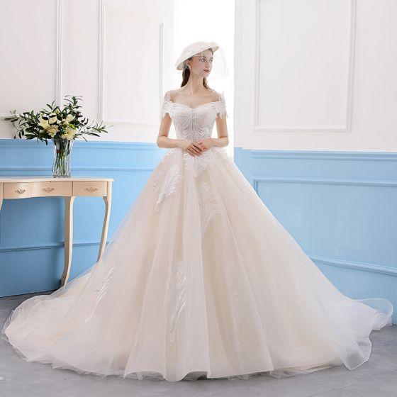 Elegant Champagne Wedding Dresses 2019 A-Line / Princess Lace Off-The-Shoulder Short Sleeve Backless Royal Train