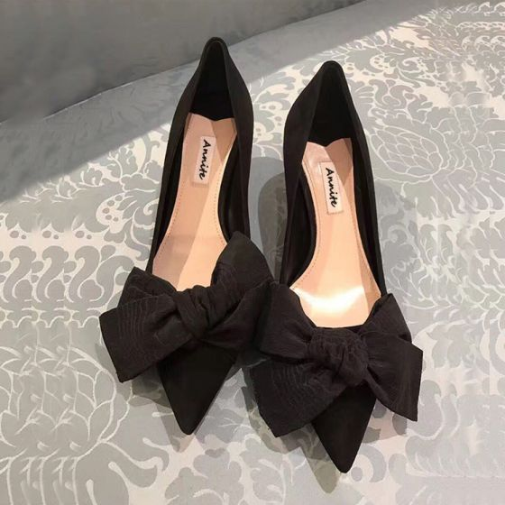 Chic / Beautiful Black Casual Bow Pumps 2020 5 cm Stiletto Heels Pointed Toe Pumps