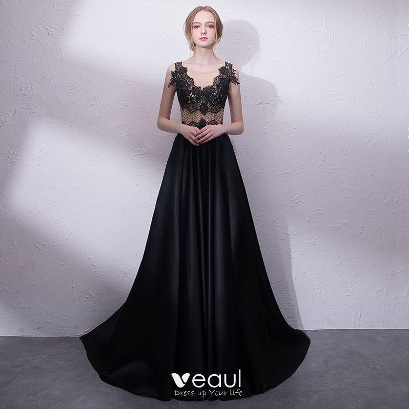 Elegant Black Evening Dresses 2018 A Line Princess Lace V Neck Sleeveless Court Train Formal