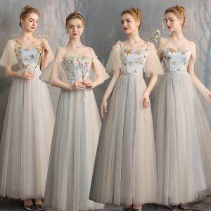 Elegante Champagne Grijs Bruidsmeisjes Jurken 2019 A lijn Ster Pailletten Lange Ruche Ruglooze Jurken Voor Bruiloft
