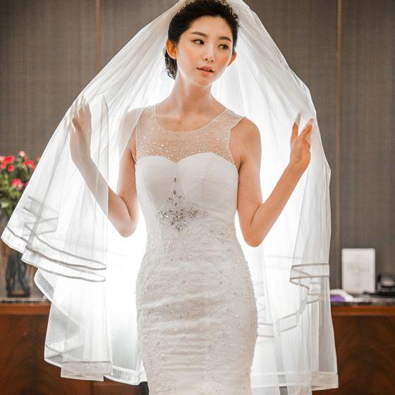 Sencillos Blanco Cortos Velo de novia 2020 Tul A rayas Boda Accesorios