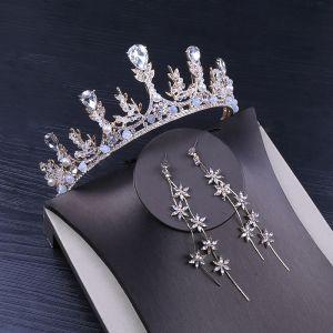 Classy Silver Bridal Jewelry 2020 Metal Pearl Rhinestone Tiara Earrings Bridal Hair Accessories
