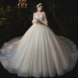 Victorian Style Champagne See-through Bridal Wedding Dresses 2020 Ball Gown Scoop Neck Puffy Long Sleeve Backless Appliques Lace Sequins Beading Glitter Tulle Cathedral Train Ruffle