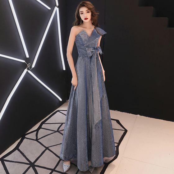 Brillante Marino Oscuro Glitter Vestidos de noche 2020 A-Line / Princess Un Hombro Bowknot Sin Mangas Sin Espalda Largos Vestidos Formales