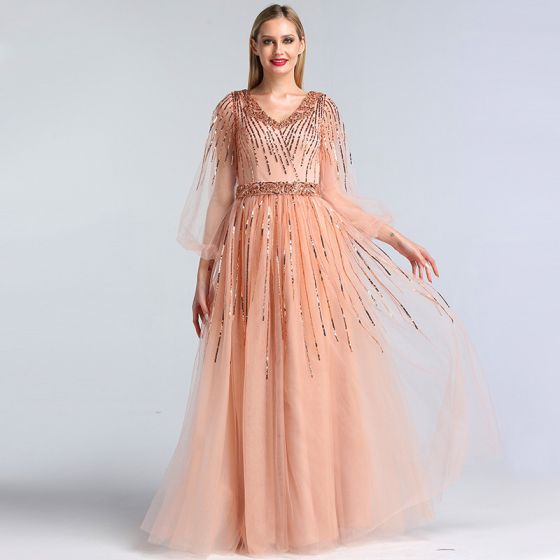 High-end Pearl Pink Dancing Prom Dresses 2020 A-Line / Princess V-Neck Puffy 3/4 Sleeve Sequins Beading Sash Floor-Length / Long Ruffle Backless Formal Dresses