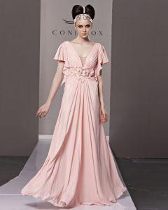 V-ausschnitt Blume Rüsche Kurzhülse Reißverschluss Bodenlangen Chiffon Abendkleid Frau