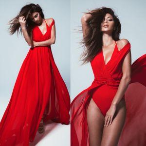 Sexy Rouge Été Robes longues 2018 Ceinture V-Cou Sans Manches Train De Balayage Vêtements Femme
