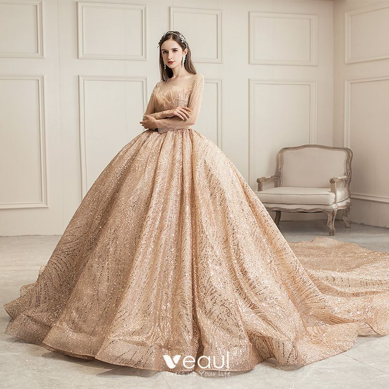 Celebrity Wedding Outfits 2019: Sparkly Champagne See-through Wedding Dresses 2019 Ball