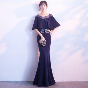 Elegant Navy Blue See-through Evening Dresses  2018 Trumpet / Mermaid Scoop Neck 1/2 Sleeves Appliques Lace Rhinestone Floor-Length / Long Ruffle Formal Dresses
