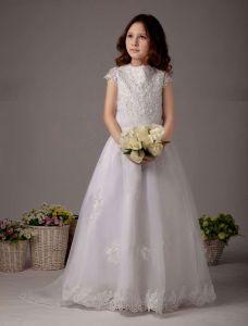 Weißen Kurzen Ärmeln Spitzen Und Stickereien Sicke Satin Blumenmädchen Kleid Kommunionkleider