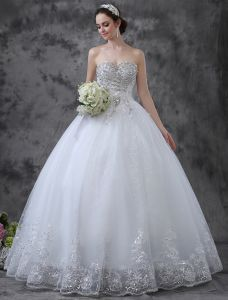 2015 Glitter Sweetheart Sequin Rhinestone Floor-length Lace Ball Gown Wedding Dress