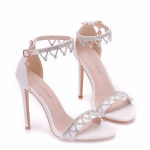 Moderne / Mode Blanche Soirée Sandales Femme 2018 Faux Diamant Bride Cheville 11 cm Talons Aiguilles Peep Toes / Bout Ouvert Sandales