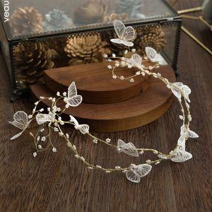 Bloemenfee Goud Bruids Haaraccessoires 2020 Legering Kralen Vlinder Haaraccessoires Huwelijk Accessoires