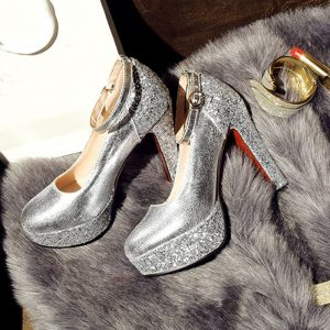 Chic / Beautiful Silver Womens Shoes 2017 PU Round Toe Knee High Beading Sequins Pumps Evening Party