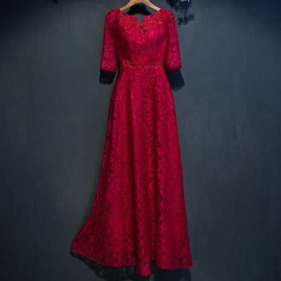 Piękne Czerwone Sukienki Wizytowe 2017 Princessa Z Koronki Kwiat Frezowanie Wycięciem 1/2 Rękawy Długość Kostki Sukienki Wieczorowe