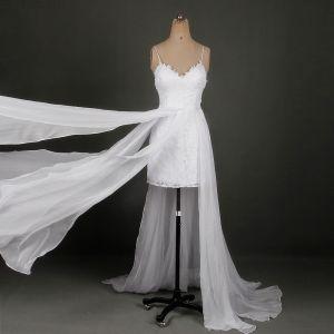 Klasyczna Eleganckie Białe Krótkie Ślub 2018 Princessa V-Szyja Koronki Aplikacje Bez Pleców Plaża Suknie Ślubne