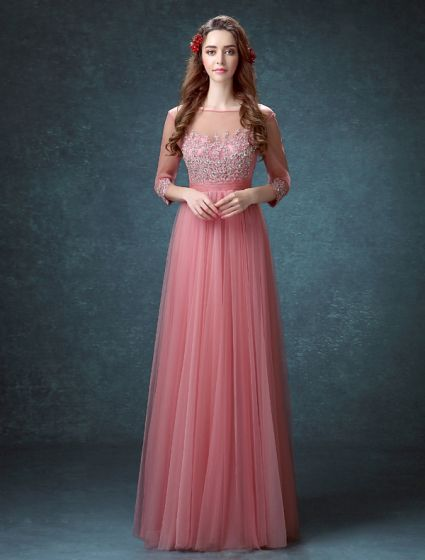 Elegant Square Neckline Beading Rhinestone Applique Lace Organza Evening Dress