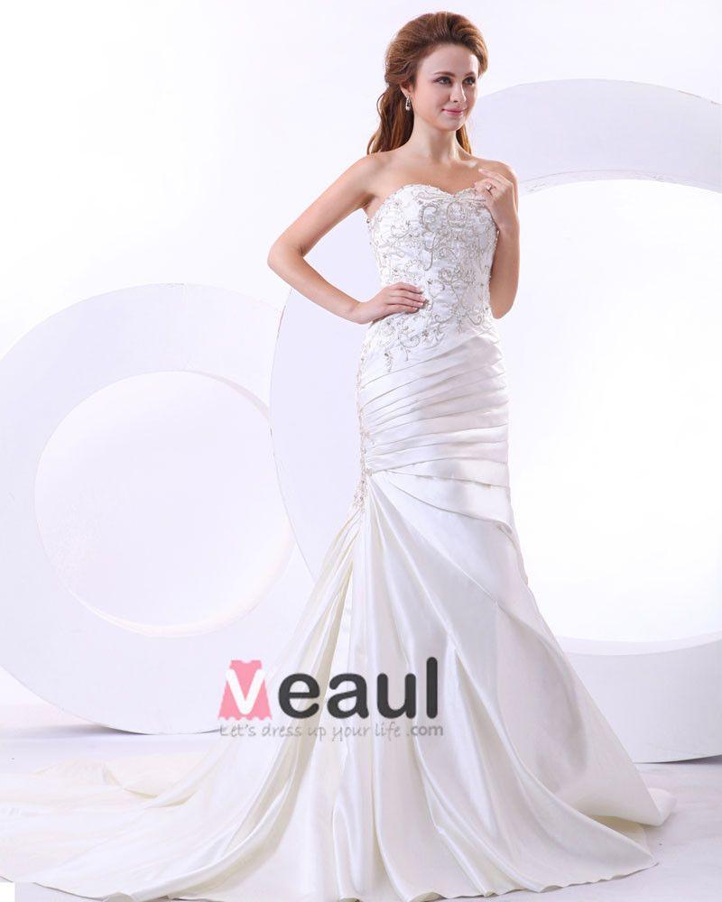 Beading Satin Ruffles Sweetheart Cathedral Train Mermaid Wedding Dresses