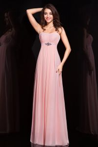 2015 Chic Empire Crystal Sash Strapless Long Pink Formal Evening Dress