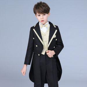 Doré Cravate Noire Queue De Pie Costumes De Mariage pour garçons 2019