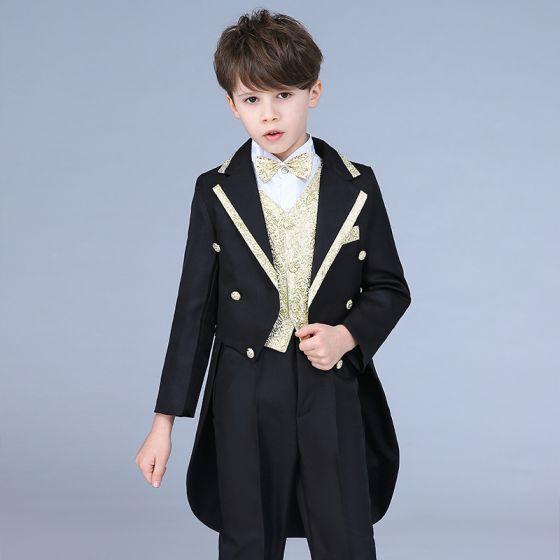 Doré Cravate Noire Queue De Pie Costumes De Mariage pour garçons 2019 0d40722aff9
