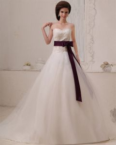 Tulle Sleeveless Applique Beading Sweetheart Chapel Train A-Line Wedding Dresses