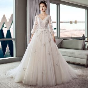 Elegant Ivory Wedding Dresses 2018 A-Line / Princess V-Neck Puffy 3/4 Sleeve Backless Star Appliques Lace Beading Pearl Court Train Ruffle