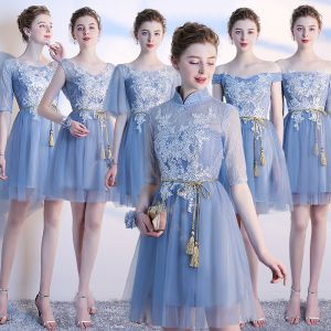 Chic / Beautiful Summer Sky Blue Bridesmaid Dresses 2018 A-Line / Princess Appliques Lace Bow Backless Short Wedding Party Dresses
