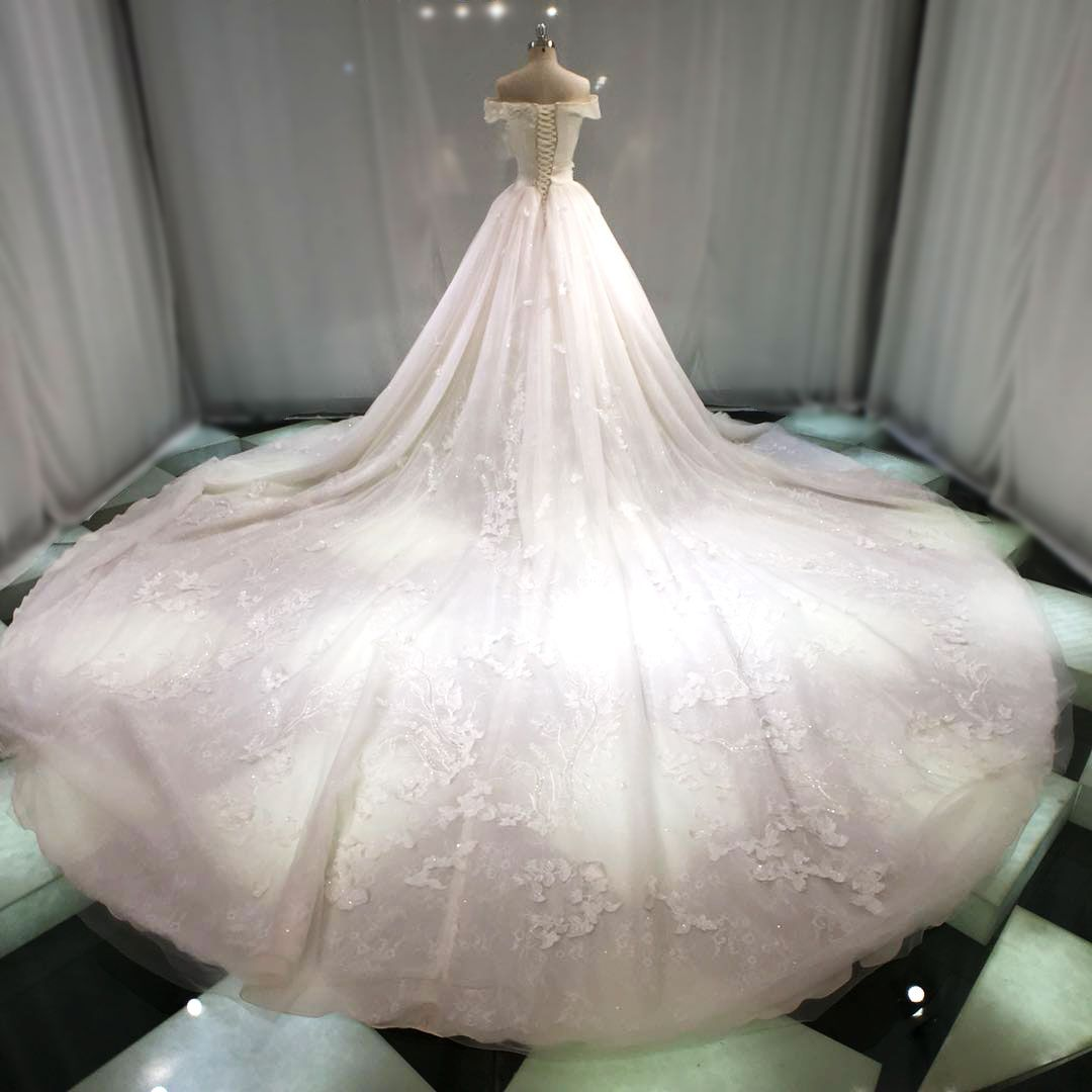 Best Champagne Wedding Dresses 2019 Princess Off-The-Shoulder Short Sleeve Backless Appliques Lace Pearl Sequins Beading Cathedral Train