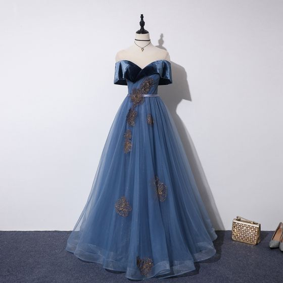 Elegant Ocean Blue Prom Dresses 2019 A-Line / Princess See-through Scoop Neck Short Sleeve Glitter Tulle Appliques Lace Beading Sash Floor-Length / Long Ruffle Backless Formal Dresses