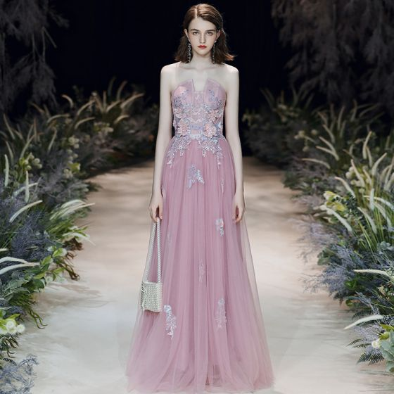 Flower Fairy Blushing Pink Evening Dresses  2020 A-Line / Princess Sweetheart Sleeveless Flower Appliques Lace Beading Floor-Length / Long Ruffle Backless Formal Dresses
