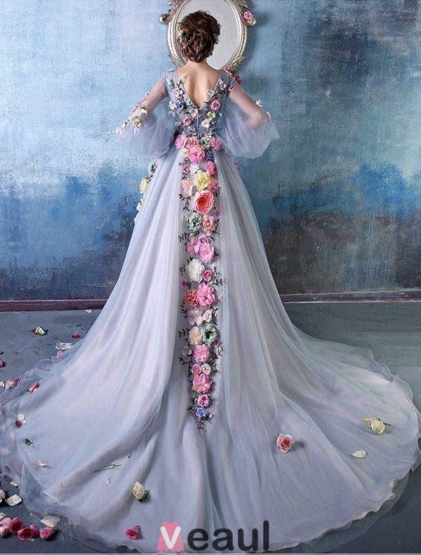2015 Colorful Flower Fairy A-line Shoulders V-neck Handmade Flowers Organza Prom Dress / Evening Dress