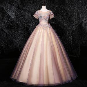 Vintage Rosa Quinceañera Ballkleider 2020 Ballkleid Rundhalsausschnitt Perle Pailletten Strass Spitze Blumen Kurze Ärmel Rückenfreies Lange Festliche Kleider