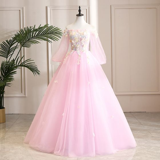 Elegant Candy Pink Prom Dresses 2019 A-Line / Princess Off-The-Shoulder Sequins Lace Flower Appliques 3/4 Sleeve Backless Floor-Length / Long Formal Dresses