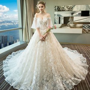 Charming Champagne Wedding Dresses 2018 A-Line / Princess Appliques Beading Crystal Sequins Lace Off-The-Shoulder Backless Short Sleeve Royal Train Wedding