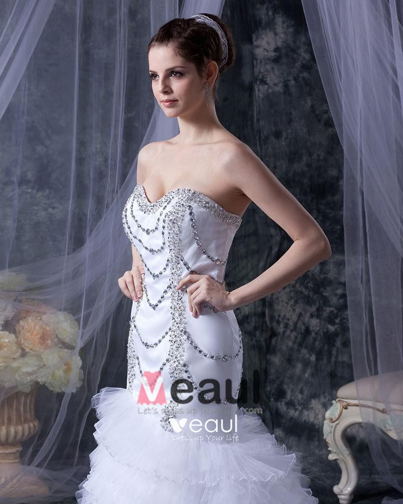 Satin Yarn Beading Ruffle Sweetheart Cathedral Train Mermaid Wedding Dresses