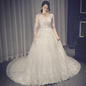 Chic / Beautiful White Pierced Wedding Dresses 2017 A-Line / Princess Scoop Neck Long Sleeve Backless Appliques Lace Chapel Train