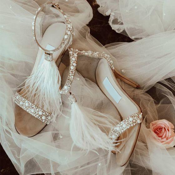 Charmerende Beige Brudesko 2019 Rhinestone Feather 9 cm Stiletter Peep Toe Bryllup Højhælede