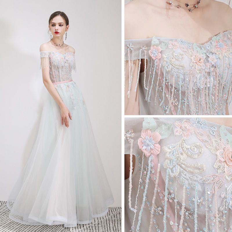 Elegant Sky Blue Evening Dresses  2019 A-Line / Princess Off-The-Shoulder Short Sleeve Beading Tassel Appliques Flower Rhinestone Sash Floor-Length / Long Ruffle Backless Formal Dresses