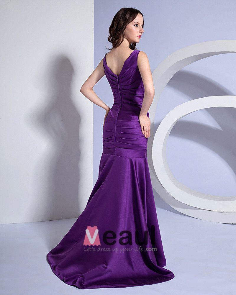 Mermaid V-Neck Taffeta Floor Length Bridesmaid Dress
