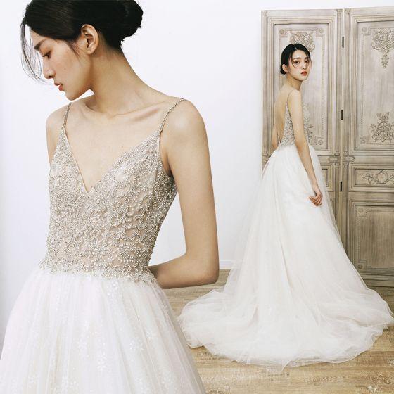 Charming Ivory Beach Summer Wedding Dresses 2020 A-Line / Princess Spaghetti Straps V-Neck Sleeveless Backless Beading Chapel Train Ruffle