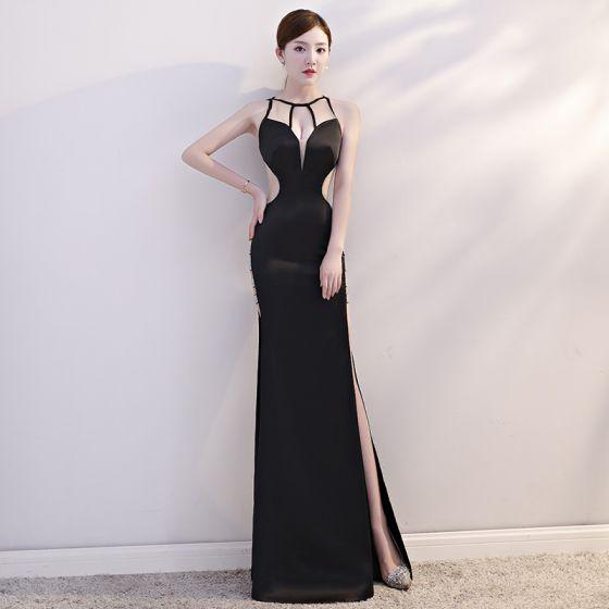 Sexy Black See-through Summer Evening Dresses  2019 Trumpet / Mermaid Scoop Neck Sleeveless Rhinestone Split Front Floor-Length / Long Backless Formal Dresses
