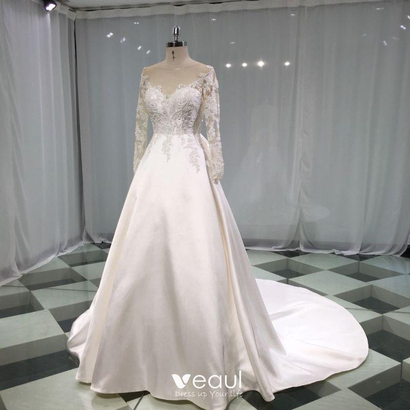 Elegant Lange Ärmel Weiß Elfenbein Spitze Kapelle Hochzeitskleid Brautkleider