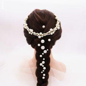 Chic / Belle Doré Accessoire Cheveux Bandeaux Boucles D'Oreilles Bijoux Mariage 2020 Alliage Perle Faux Diamant Mariage Accessorize