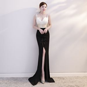 Sexy Black Evening Dresses  2019 Trumpet / Mermaid Beading Spaghetti Straps Sleeveless Backless Sweep Train Formal Dresses