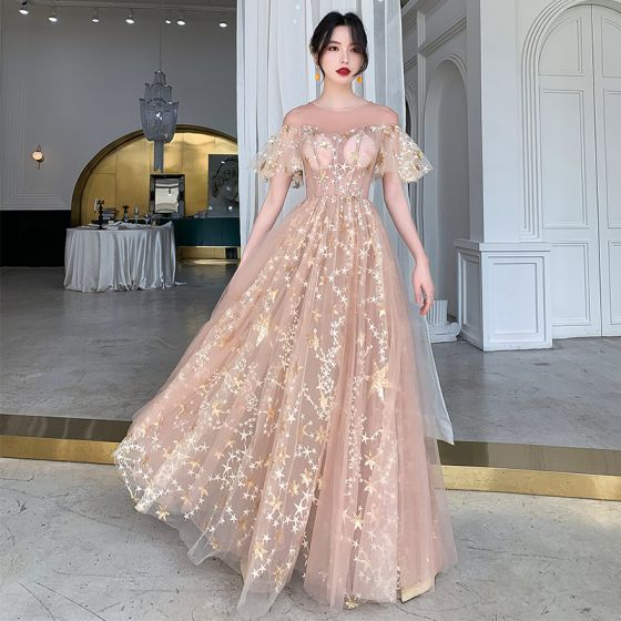 Espejismo Champán Transparentes Vestidos de noche 2020 A-Line / Princess Scoop Escote Manga Corta Apliques Estrella Lentejuelas Largos Ruffle Vestidos Formales