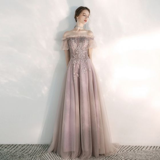 Classy Blushing Pink Evening Dresses  2020 A-Line / Princess Off-The-Shoulder Puffy Short Sleeve Appliques Lace Beading Sweep Train Ruffle Backless Formal Dresses
