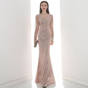 Affordable Champagne Sequins Evening Dresses  2020 Trumpet / Mermaid V-Neck Puffy Long Sleeve Beading Floor-Length / Long Ruffle Formal Dresses